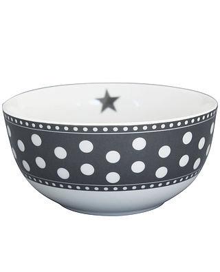 Mørkegrå prikket skål