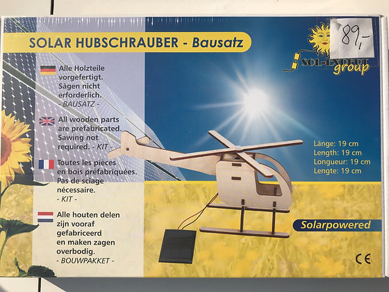 Træ legetøj - helikopter med solcellepanel
