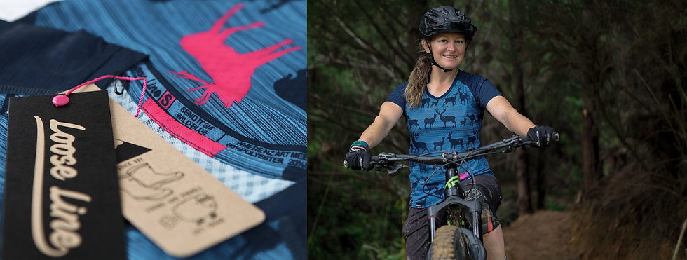 Wild Blue womens loose line bike jersey.