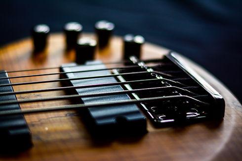 electric bass guitar detail