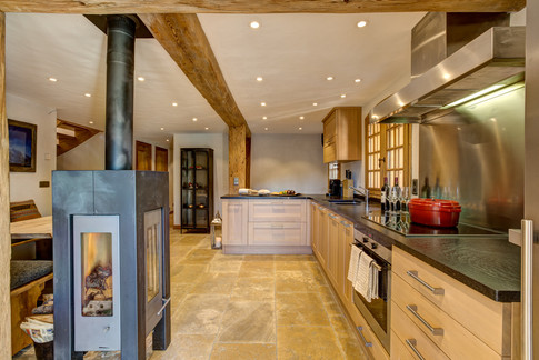 Nordic Lodge kitchen from garden view