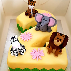 Number cake animaux