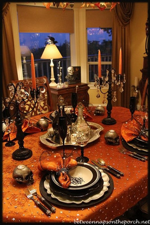 This tablespread evokes the family dinner at the end of the book.