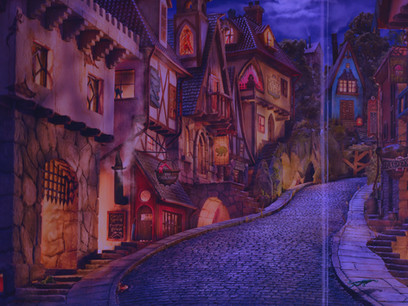 This panoramic view is an inspiration for the Old Halloween Village which will figure prominently in the sequel to Book Three