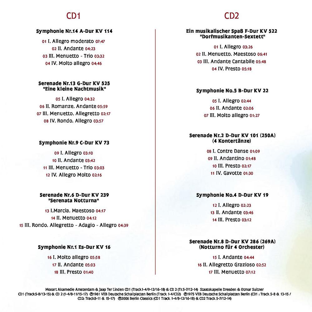 Diese CD ist sorgfältig zusammengestellt worden und bietet eine Vielzahl der   frühen Meisterwerke gepaart mit neueren Werken, die eine ebenso entspannende und beruhigende Wirkung haben.   Denn die kindliche Leichtigkeit hat W.A.Mozart nie verloren und sie spiegeln sich durchgehend in all seinen Kompositionen wider.