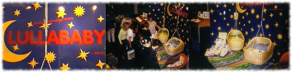 Lullababy 1997 mit dem Federwiegen Stand auf dem Hebammenkongreß. Hier konnten sich die Hebammen die Federwiege live ansehen und testen