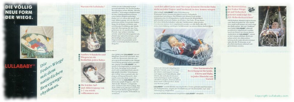 Neuer Federwiegen Flyer 1993 Lullababy® - Therapeutically Baby Movement Federwiege
