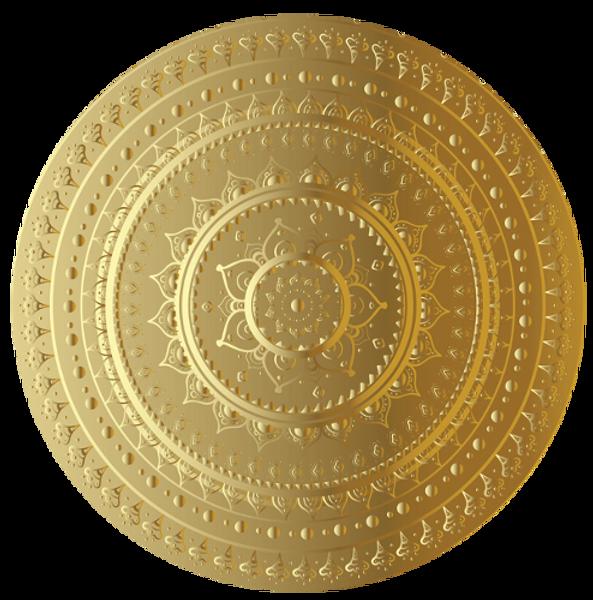 Indisches Gold-Mandala Rund Teilausschni
