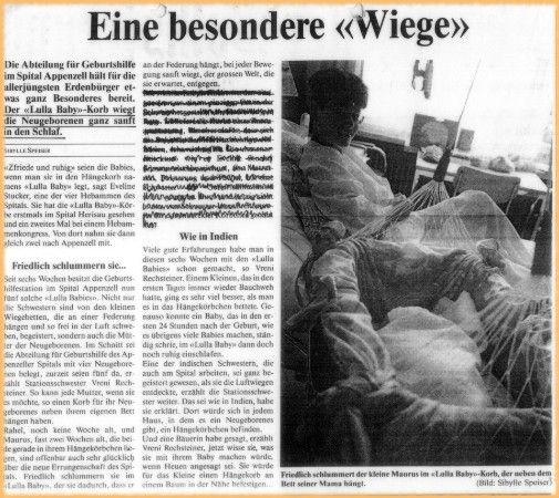 Eine besondere Wiege ist die Lullababy Federwiege in der Geburtshilfe im Spital Appenzell