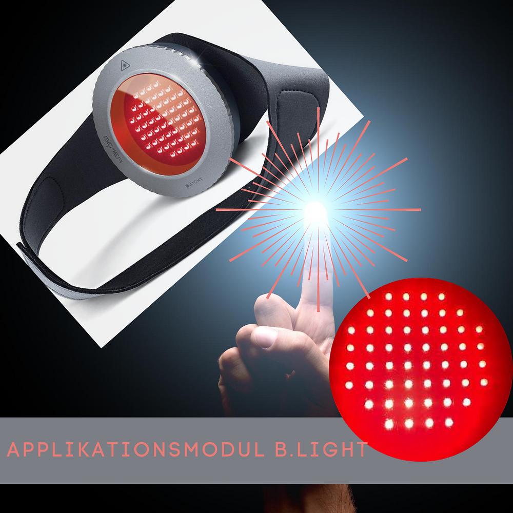 Spot aus, Licht an. Das Applikationsmodul B.LIGHT eignet sich zur komplementären Lichtbehandlung von Hautkrankheiten, Wundheilungsstörungen bzw. für den kosmetischen Einsatz. Im Lieferumfang des Pro-Set enthalten (inklusive Schutzbrille). Optional für B.BOX Classic erhältlich.