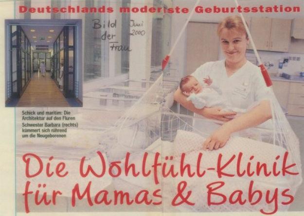 Lullababy® Federwiege auf der Geburtsstation im Marienkrankenhaus in Hamburg. Die Wohlfühlklinik für mamas und Babys