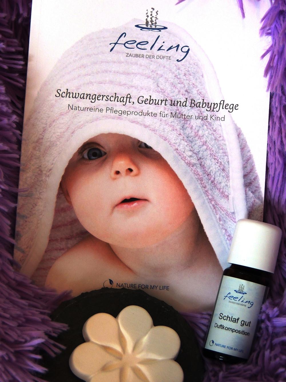 Feeling Zauber der Düfte; Broschüre Schwangerschaft, Geburt und BabyPflege, Naturreine Pflegeprodukte für Mutter und Kind
