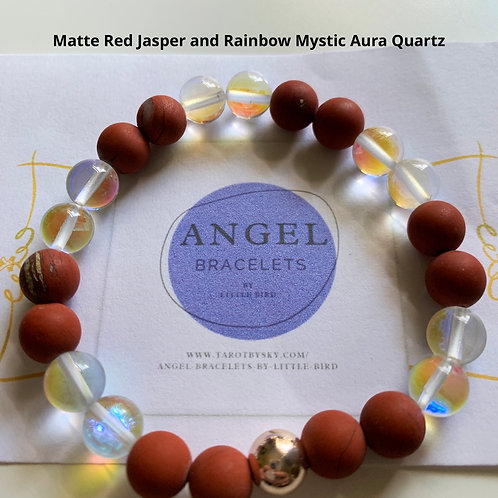 Matte Red Jasper and Rainbow Mystic Aura Quartz
