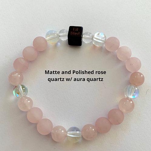 Legendary edition - Matte and Polished rose quartz w/ aura quartz