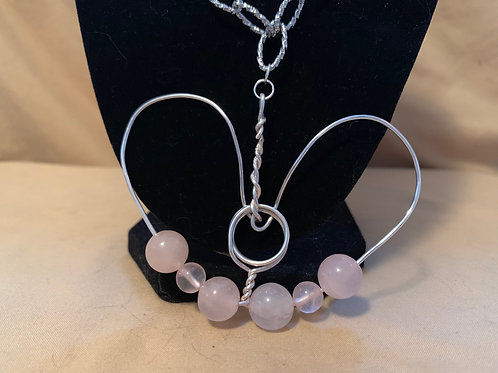 Rose Quartz Wrapped Heart Necklace