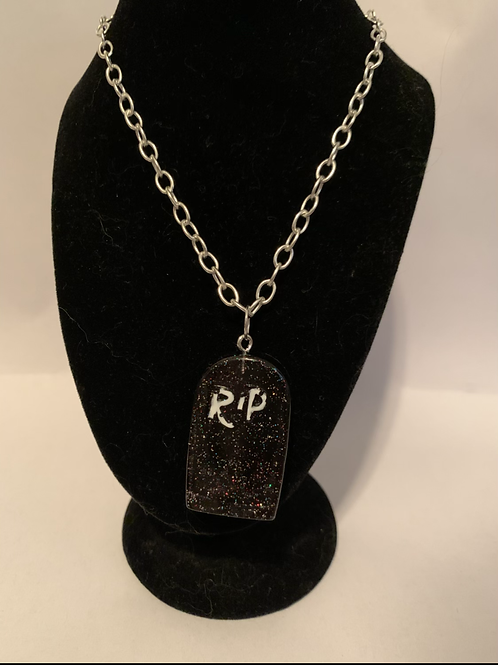 Halloween RIP Gravestone necklace only