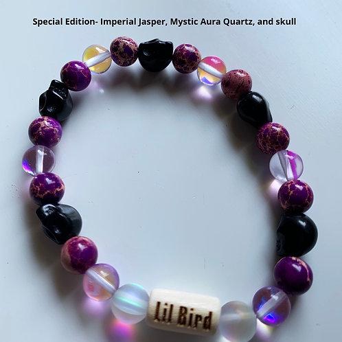 Special Edition- Imperial Jasper, Mystic Aura Quartz, and skull