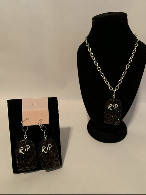 Halloween RIP Gravestone necklace and earrings
