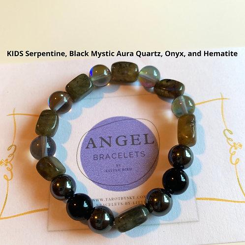 KIDS Serpentine, Black Mystic Aura Quartz, Onyx, and Hematite