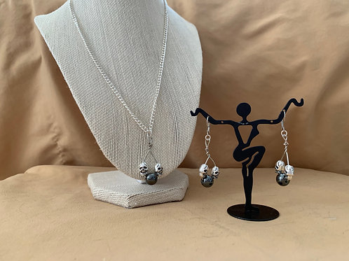 Hematite Skull Necklace and Earring Set