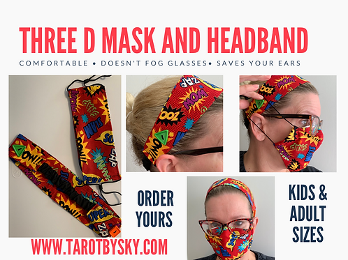 Limited Edition character Cloth Mask - 3D style with matching head band
