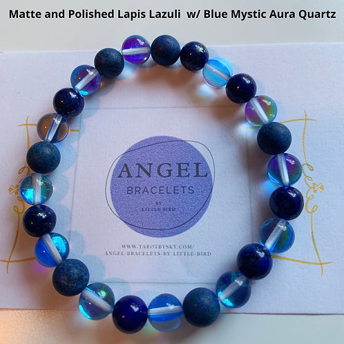 Matte and Polished Lapis Lazuli  w/ Blue Mystic Aura Quartz