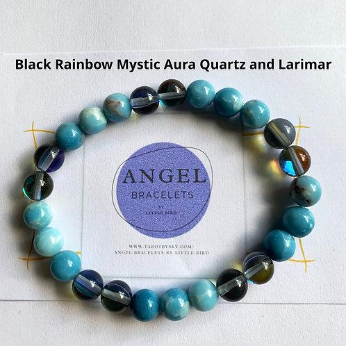 Black Rainbow Mystic Aura Quartz and Larimar