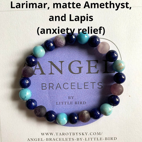 Larimar, matte Amethyst, and Lapis (anxiety relief)