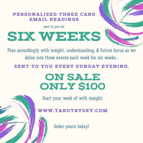 Three Card weekly Email Reading for 6 weeks
