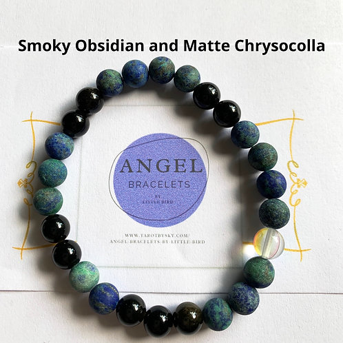 Smoky Obsidian and Matte Chrysocolla