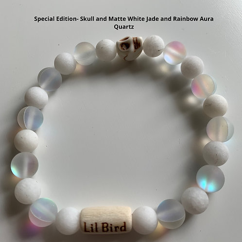 Special Edition- Skull and Matte White Jade and Rainbow Aura Quartz