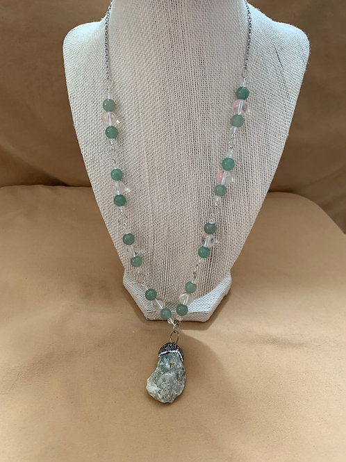 Gemstone Bead and Raw Stone pendant Necklaces