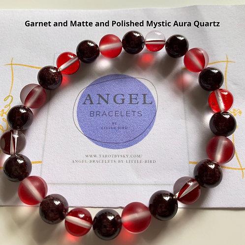 Garnet and Matte and Polished Mystic Aura Quartz