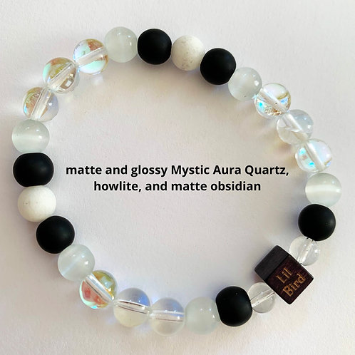 Legendary Edition -matte and glossy Mystic Aura Quartz, howlite, and matte obsid