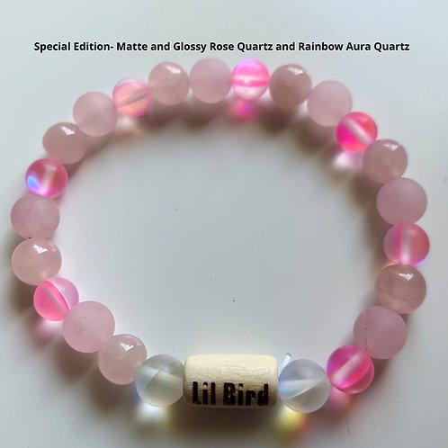 Special Edition- Matte and Glossy Rose Quartz and Rainbow Aura Quartz