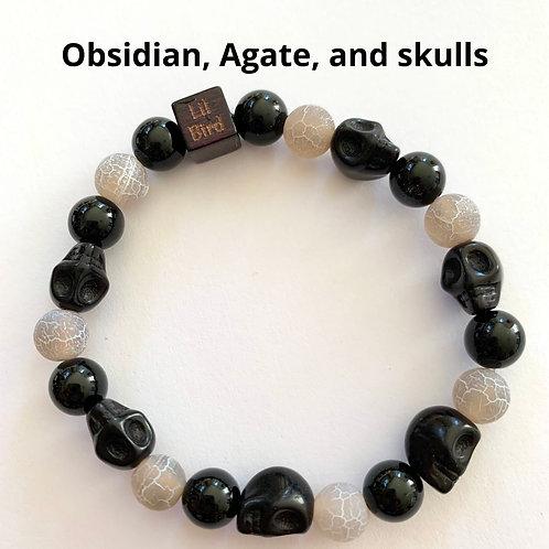 Legendary- obsidian and agate,  w/ Skulls
