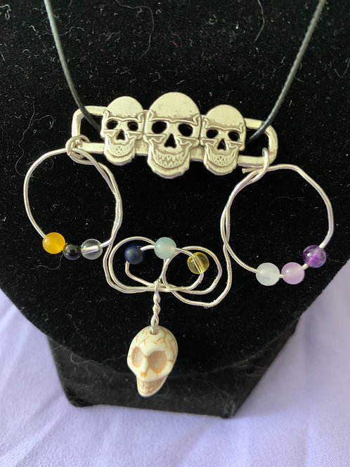 Gemstone Skull Necklace and Earring Set