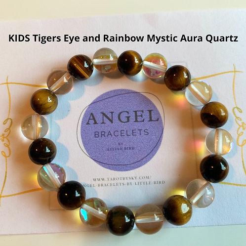 KIDS Tigers Eye and Rainbow Mystic Aura Quartz