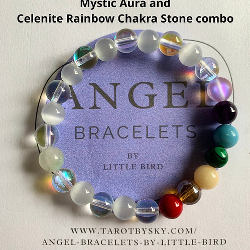 Mystic Aura and Celenite Rainbow Chakra Stone combo