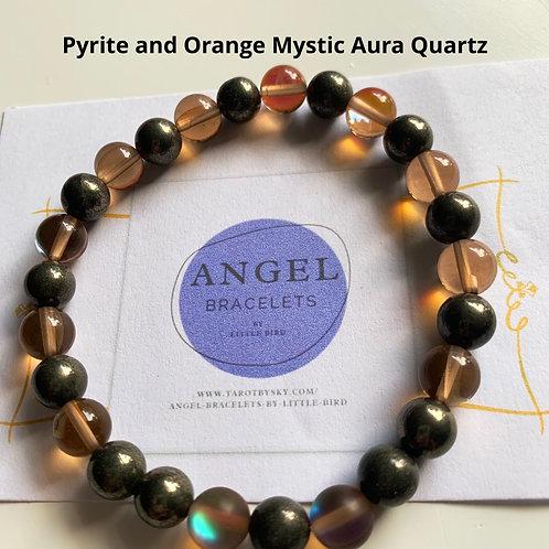 Pyrite and Orange Mystic Aura Quartz
