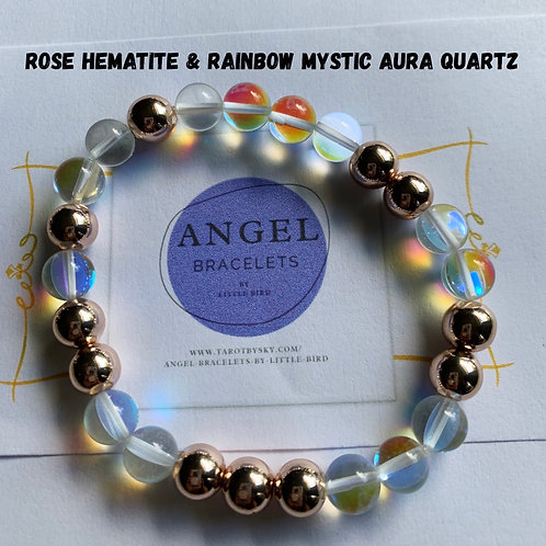 White Rainbow Mystic Aura Quartz and Rose He