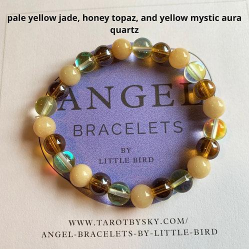 pale yellow jade, honey topaz, and yellow mystic aura quartz