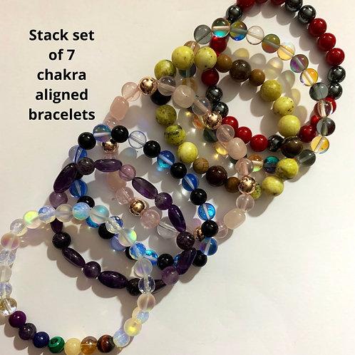 Mystic Aura Quartz Chakra Stack set - 7 bracelets
