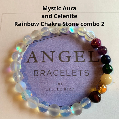 Mystic Aura and Celenite Rainbow Chakra Stone combo 2