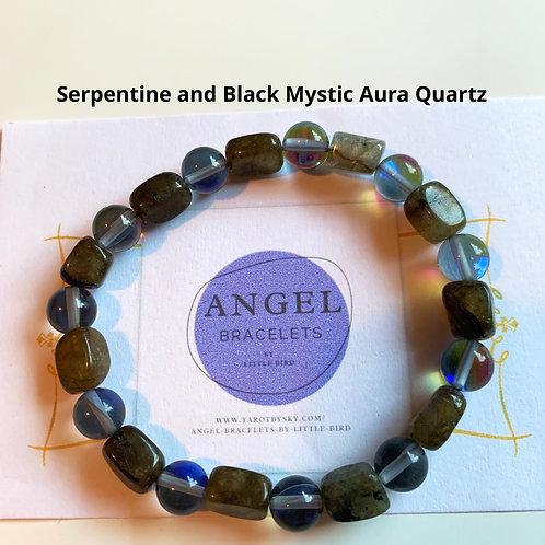 Serpentine and Black Mystic Aura Quartz