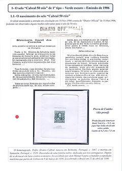 """Atrativos na coleção do selo """"Cabral 50 Réis"""" e sua abrangente utilização"""