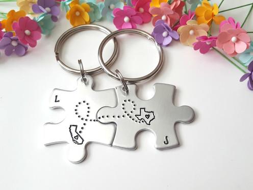 Long Distance Boyfriend Gift, Personalized Keychains, Coordinate Keychains
