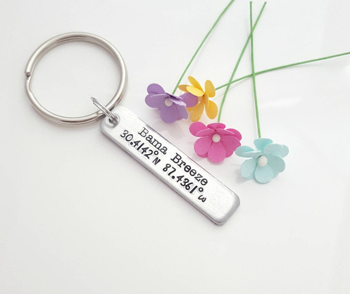 Coordinates Keychains, First Kiss, First Date, Vacation Gifts, Personalized  Gift