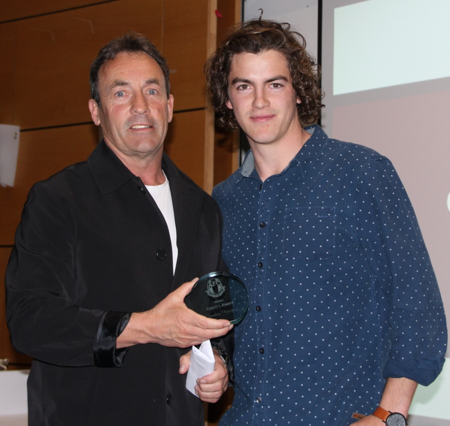 NEAFL Coach Award Jordan Harper with Chris Rourke