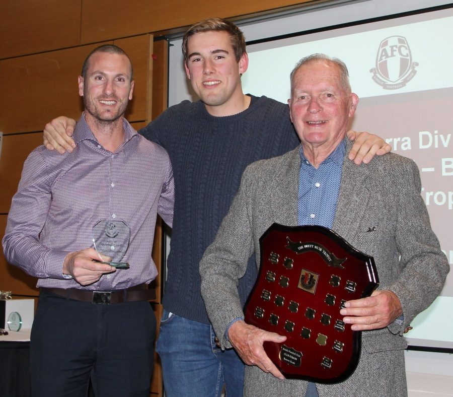 First Grade Brett Muir Award Josh Maynard with Jim Muir and Jim Rice